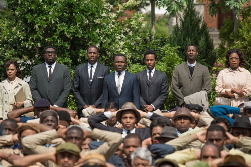 Background left to right: Tessa Thompson plays Diane Nash, Omar Dorsey plays James Orange, Colman Domingo plays Ralph Abernathy, David Oyelowo plays Martin Luther King, Jr., André Holland plays Andrew Young, Corey Reynolds plays Rev. C.T. Vivian, and Lorraine Toussaint plays Amelia Boynton in SELMA, from Paramount Pictures and Pathé.