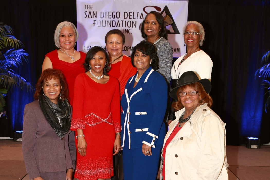 San Diego Foundation 2015 Board of Directors. Pictured in front row (L-R) Peaches Wynn, Cynthia James-Price, Mildred Neal and Janice Robinson. Back row (L-R) Sheryl White, Psy.D, Charlotte Houston, Ph.D, Ingrid Chapman and Sheryl Mullins.
