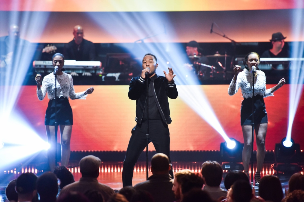 SHOWTIME AT THE APOLLO: John Legend performs onstage at the Apollo Theater for SHOWTIME AT THE APOLLO airing Monday, Dec. 5 (8:00-10:00 PM ET/PT) on FOX. CR: Anthony Behar/Fox